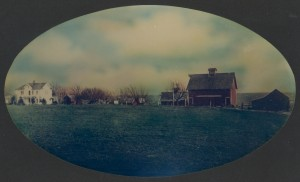 """The """"Homeplace"""" of George A. Roberts and Ella V. Daniel, Jasper County, Iowa. Image taken circa 1900 and hand colored."""