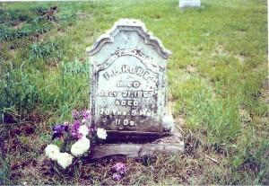Headstone of Frederick P. Horn in Sandhill Cemetery, near Tipton, Cedar Co., Iowa, prior to restoration.