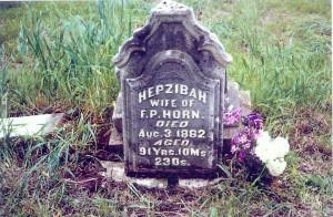 Headstone of Hepzibah (Clark) Horn in sandhill Cemetery, near Tipton, Cedar Co., Iowa, prior to restoration, about 2007.