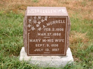 Headstone of Wiley Anderson Murrell and his wife Mary Magdalene Honce. Mound Prairie Cemetery, Jasper Co., Iowa