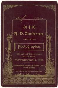 GOLOMB Family? Pittsburgh PA, c1895? RD Cochran, Photographer- Reverse