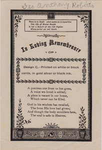 """A sample funeral card with the name """"Geo. A. Roberts"""" written at the top. George A. Roberts died 18 Apr 1939."""