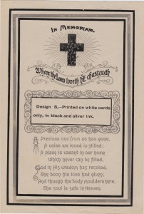 """Reverse of a sample funeral card with the name """"Geo. A. Roberts"""" written at the top. George A. Roberts died 18 Apr 1939."""