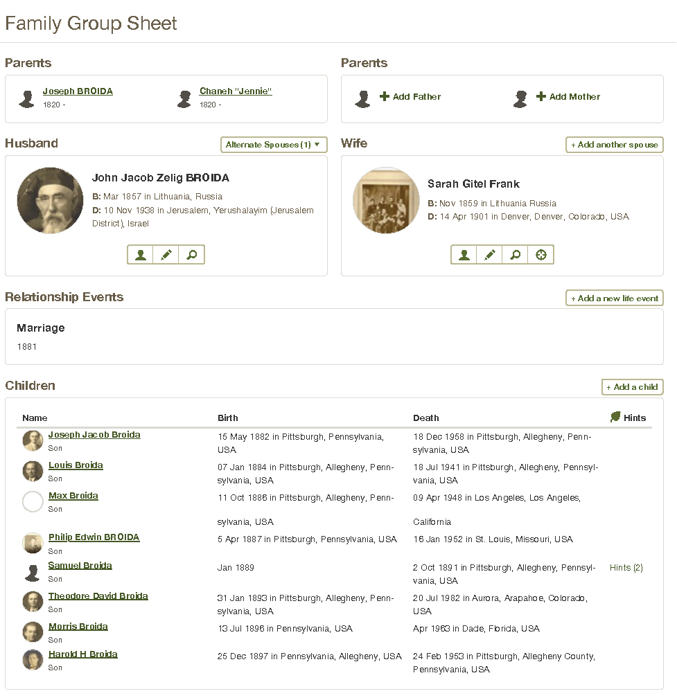 Family Group Record of John Broida and Sarah Gitel Frank