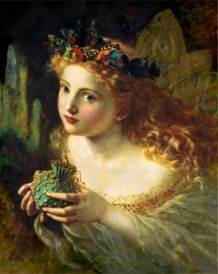 A portrait of a fairy, by Sophie Anderson (1869). The title of the painting is Take the Fair Face of Woman, and Gently Suspending, With Butterflies, Flowers, and Jewels Attending, Thus Your Fairy is Made of Most Beautiful Things - purportedly from a poem by Charles Ede. From Wikimedia Commons.