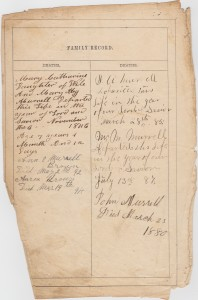 MURRELL Family Bible- Deaths [click to enlarge]