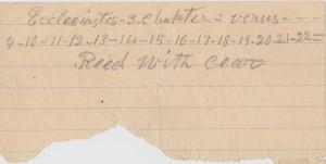 Murrell Family Bible Ephemera-Ecclesiastes note.