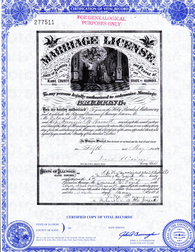 Marriage license of Edward B. Payne and Nannie M. Burnell, 05 May 1870, Kane Co., Illinois.