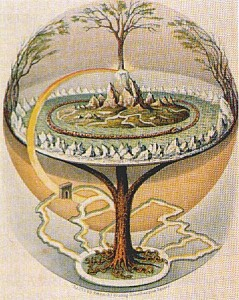 Yggdrasil, the World Ash in Norse mythology. From Northern Antiquities, an English translation of the Prose Edda from 1847. Painted by Oluf Olufsen Bagge