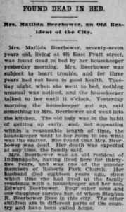 Matilda L. (MacElvey) Beerbower- Death Notice in The Indianapolis Journal_v50_n200_p8_c1.
