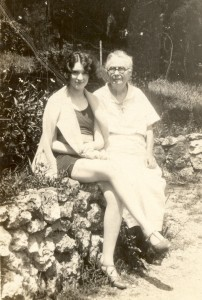 Ruth Nadine (Alexander) Lee and her mother, Wilhemina (Schoor) Alexander at Lake Tanycomo, Missouri