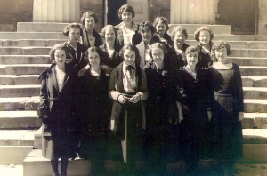 Edith Roberts, center front, with her sorority sisters at Iowa state University, circa 1920.