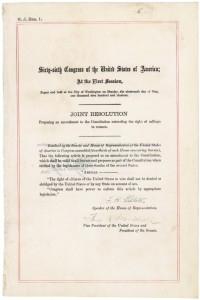Proposed Nineteenth Amendment to the Constitution of the United States of america. NARA.
