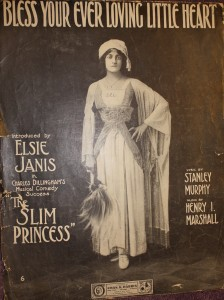 "Sheet music cover for ""Bless Your Ever Loving Little Heart,"" from ""The Slim Princess."""