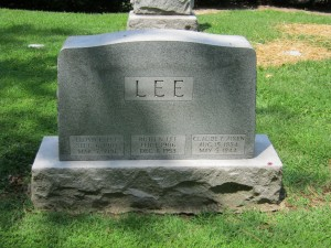 "Lee headstone in Memorial Park Cemetery, Jennings, Missouri: Lloyd Eugene ""Gene"" Lee, his first wife Ruth Nadine (Alexander) Lee, and Gene's uncle, Claude Frank Aiken."