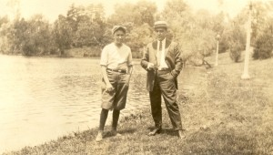 Probably Lloyd Eugene Lee on the left and Claude Frank Aiken on the right, c1922-1924. Aiken family photo album.