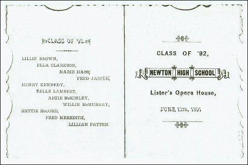12 June 1892- Will McMurray's Graduation program from Newton High School, Newton, Iowa.