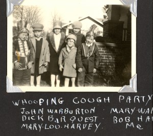 """Whooping Cough Party"" from left: John Warburton, Dick Barquest, Mary Lou Harvey, Mary Warburton, Bob H[arvey?], Edward A. McMurray"