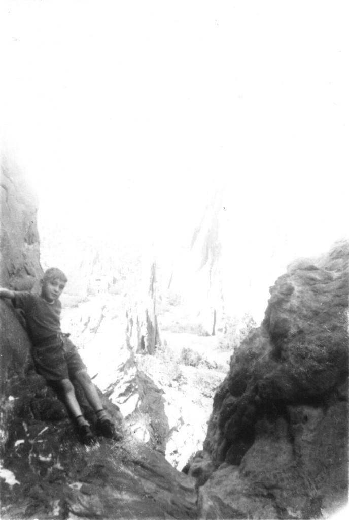 """Robert E. """"Bob"""" Lee on the mountain in Colorado, 1940s."""