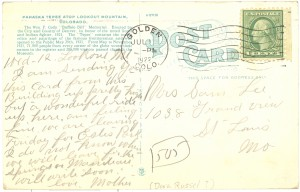 Reverse of Buffalo Bill Memorial Postcard, 1922