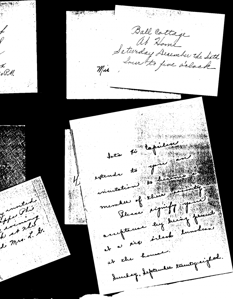 Section of page 2  in Edith Roberts' college scrapbook with sorority invitations. (Apologies for the poor copy- it was a photocopy in the days before scanners.)