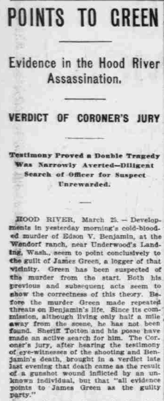 """""""Points to Green,"""" The Morning Oregonian,(Portland, Oregon) March 26, 1901, Volume 41, Number 12,569, Page 4, Columns 1-3, Part 1. Public Domain."""