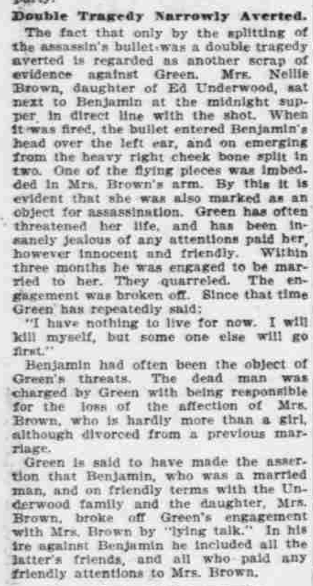 """""""Points to Green,"""" The Morning Oregonian,(Portland, Oregon) March 26, 1901, Volume 41, Number 12,569, Page 4, Columns 1-3, Part 2. Public Domain."""