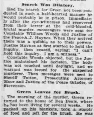 """""""Points to Green,"""" The Morning Oregonian,(Portland, Oregon) March 26, 1901, Volume 41, Number 12,569, Page 4, Columns 1-3, Part 5. Public Domain."""