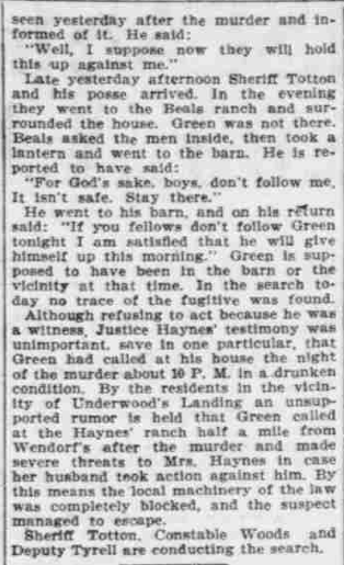 """""""Points to Green,"""" The Morning Oregonian,(Portland, Oregon) March 26, 1901, Volume 41, Number 12,569, Page 4, Columns 1-3, Part 6. Public Domain."""