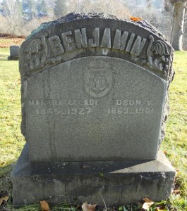 Benjamin-Slade Headstone in the Odd Fellows Cemetery, The Dalles, Oregon. Reprinted with kind permission of photographer.