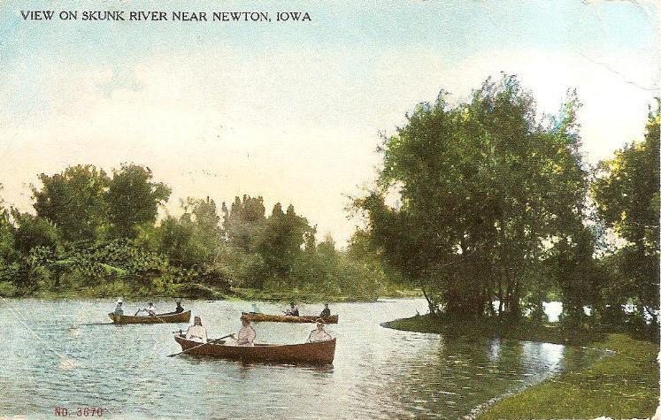 View of Skunk River near Newton, Jasper County, Iowa. Real Photo Postcard (RPPC).