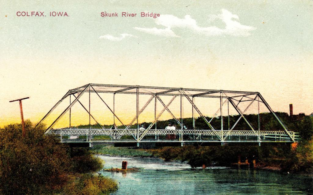 Skunk River Bridge near Colfax, Jasper County, Iowa. RPPC.