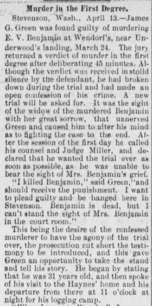 """""""Murder in the First Degree"""" Part 1. The Hood River Glacier, April 19, 1901, Vol. 12, No. 48, Page 2, Column 1. Public domain. (Click to enlarge.)"""