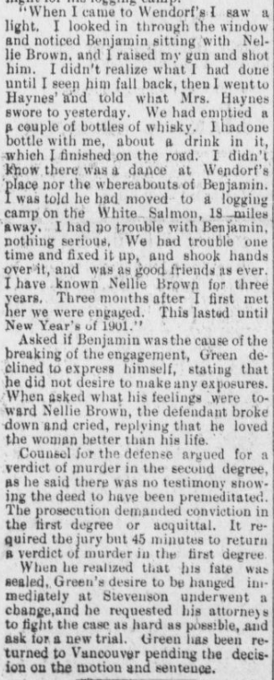 """""""Murder in the First Degree"""" Part 2. """"Murder in the First Degree"""" Part 1. The Hood River Glacier, April 19, 1901, Vol. 12, No. 48, Page 2, Column 1. Public domain."""