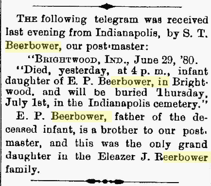 Telgram re: death of Mary Emma Beerbower, in the March 30th, 1880 issue of the Marion [Ohio] Daily Star.