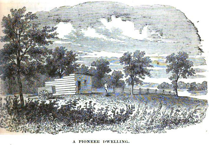A Pioneer Dwelling from History of Jasper County, Iowa, Western Historical Co.,1878. Page 61, GoogleBooks.