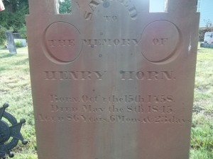 Henry Horn- Headstone- Detail, Horn Churchyard, Alum Bank, Bedford, PA. With thanks to Amanda Smith on Find A Grave, 8/22/2011.