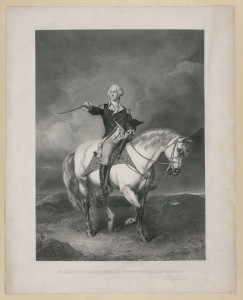 Washington Receiving a Salute after the Victory at Trenton, NJ on 26 dec. 1776. William Holl engraving c1860 after a painting by John Faed. Library of Congress