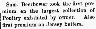 Samuel T. Beerbower- County Fair Winner. 03 Oct 1879