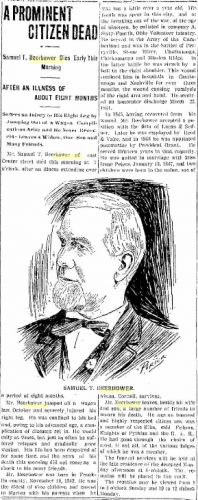 Obituary of Samuel Taylor BEERBOWER, Marion Daily Star [Marion, OH], 12 July 1902, Vol. XXV, No. 194, Page 6. Posted with kind permission.