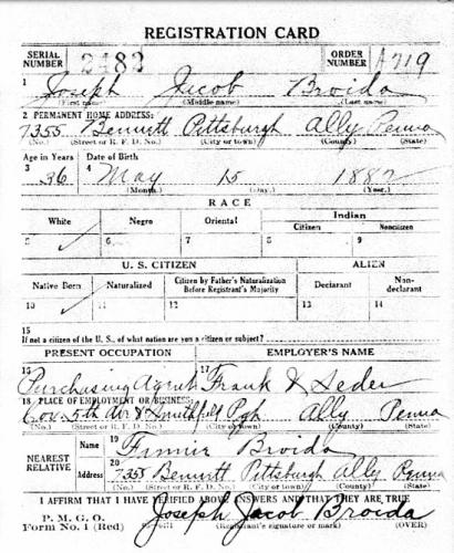 Joseph Jacob Broida- WWI Draft Registration Card, Part 1.