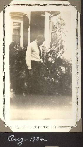 Gerard William Helbling in his garden, August 1934. Family photo album.