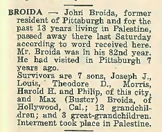 """John Broida Obituary. """"The American Jewish Outlook"""" 18 Nov 1938, Vol. 8, No. 24, Page 15. Courtesy of """"Pittsburgh Jewish Newspaper Project,"""" http://digitalcollections.library.cmu.edu/pjn/index.jsp (Click to enlarge.)"""