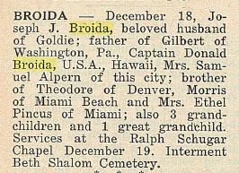 Joseph Jacob Broida- Obituary
