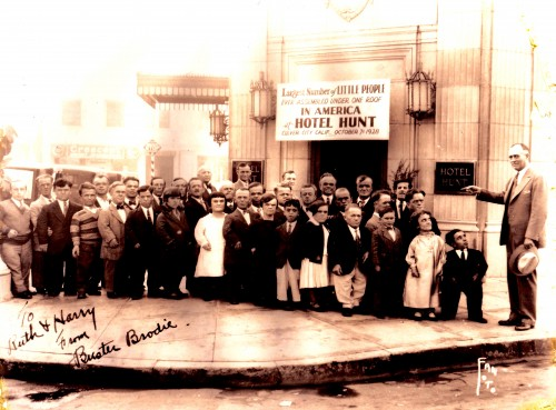 """Buster Brodie in a group of Little People, 07 October 1928 in Culver City, California at the Hunt Hotel.  Autographed """"To Ruth & Harry From Buster Brodie."""" (Click to enlarge.)"""
