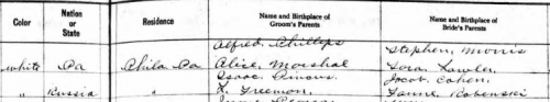 Marriage record of Ethel Rubinstein to Jacob M. Pincus in Delaware, 06 Sept 1911, part 2, via Ancestry.com.