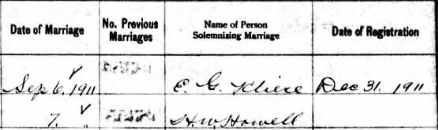 Marriage record of Ethel Rubinstein to Jacob M. Pincus in Delaware, 06 Sept 1911, part 3, via Ancestry.com.