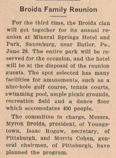 1936 Broida Family Reunion. The Jewish Criterion, Vol. 4, No. 2, Page 13. Courtesy of Pittsburgh Jewish Newspaper Project.