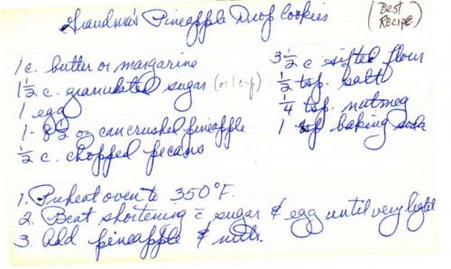 Grandma Edie's Pineapple Drop Cookies- front. (Click to enlarge.)