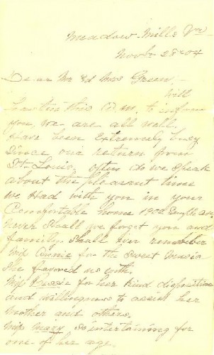 November 28, 1904 Letter to Abraham and Bessie Green from W. H., Fannie, and Willie P. Spiggle, page 1 of 2.